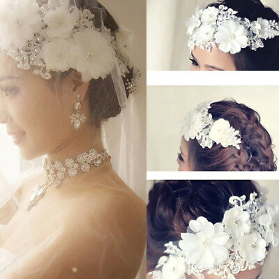 LD_ KF_ Wedding Bride Lace Flower Faux Pearl Headwear Hairband Hair Clip Pin S