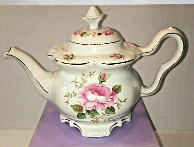 Crown Dorset Staffordshire English Teapot Floral Gold Trimmed