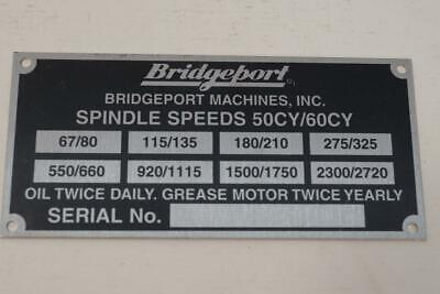 New Original Bridgeport STEP PULLEY Milling Machine Spindle Speed Name Plate