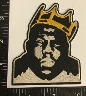 NOTORIOUS B.I.G. BIG Biggie Smalls With Crown Iron-On PATCH Hip Hop Rap Music