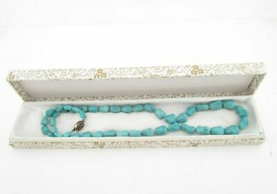 Vintage1920 Chinese Single Knotted Turquoise Necklace Silver Filigree Clasp box