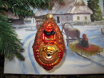 RARE! Cockoo Clock   Amber Crumb  Christmas ornament glass hand painted
