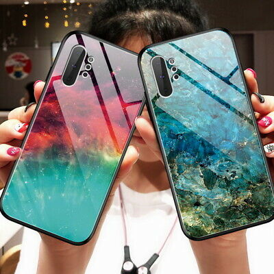 For Samsung Galaxy Note 10 PLus S10 S9 Gradient Tempered Glass Marble Case Cover