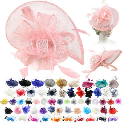 Women Flower Hair Clip Mesh Headband Feathers Top Hat Fascinator Tea Party Derby