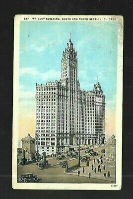 Vintage Postcard Wrigley Building South & North Section Chicago ILLinois Old Car