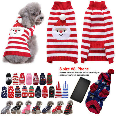 Christmas Party Sweater Pet Cat Dog Jumper Sweater Small Warm Clothes Costume