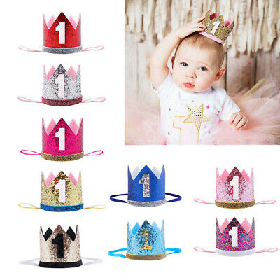 Baby Girls Boy 1st First Birthday Cake Smash Outfit Prop Crown Hat Headband