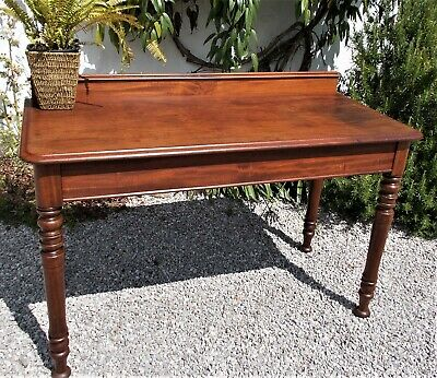antique console table,victorian,mahogany,hall table,desk,turned legs,with drawer