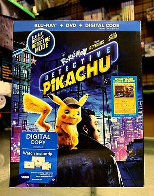Pokemon Detective Pikachu (Blu-ray + DVD + Digital Combo Pk) 2019 w/SLIP NEW !!