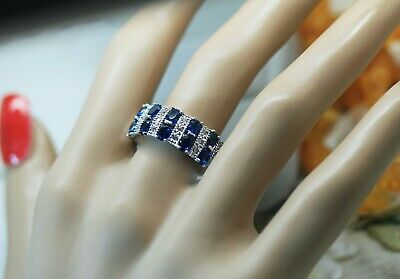 Art Deco Vintage Jewellery Ring with Blue White Sapphires Antique Jewelry S