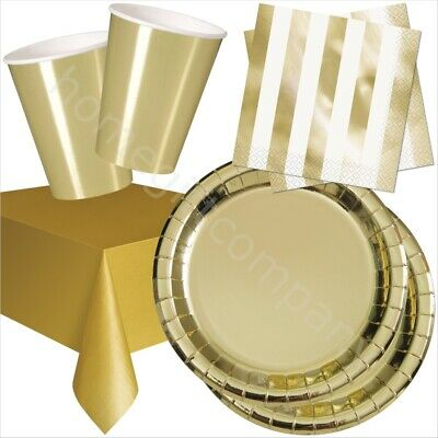 33pc Gold Disposable Party Tableware Set Bundle Birthday Wedding Party Catering