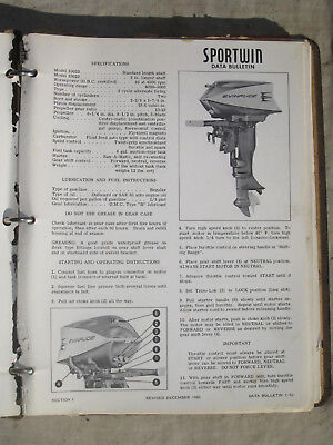 Vintage Evinrude 1960 Outboard Out board Light Big Twin Fisherman Fasttwin Lark