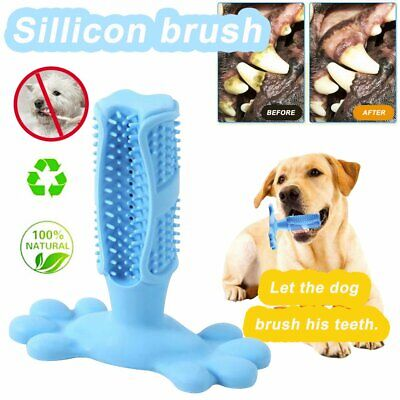 Dog Toothbrush Clean Stick Teeth Chew Toy Silicone Pet Brushing Dental Care  PQ