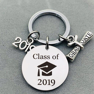 5X Graduation Keychain Engraved Class of 2019 Grad Gift Keyring Stainless Steel