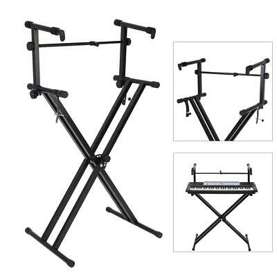 Lightweight Pro Adjustable 2-Tier X Style Dual Keyboard Stand Electronic Piano