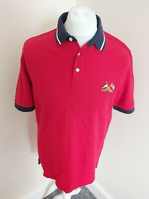 Ralph Lauren Chaps Polo Shirt Red Medium 44 Chest Designer Vgc