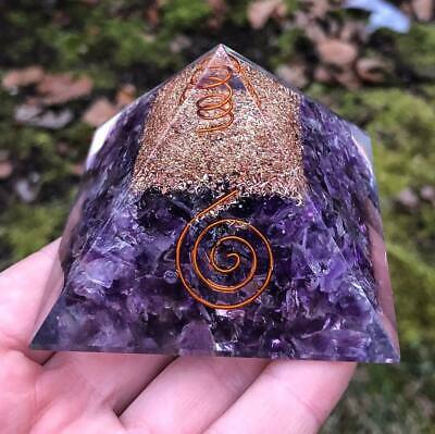 60-65mm PURPLE FLUORITE ORGONE GEMSTONE PYRAMID LARGE PYRAMID ORGONITE LARGE