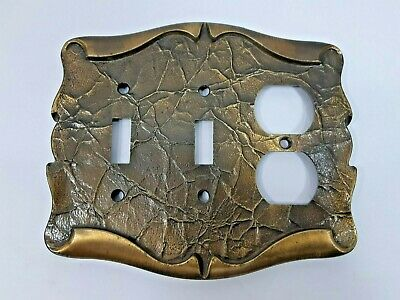 Vintage Amerock Carriage House 2 Toggle Light Switch Plate Antique Brass Metal