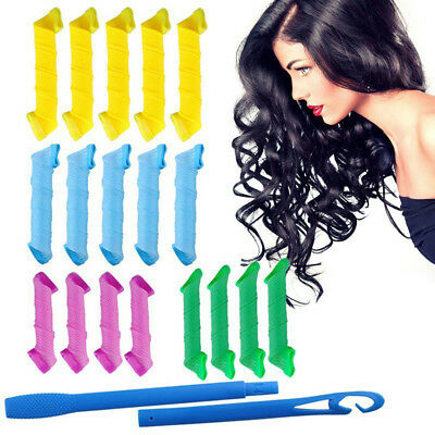 Hair Curler 18pcs No Heat Leverage Curlers Formers Spiral Styling Rollers Magic