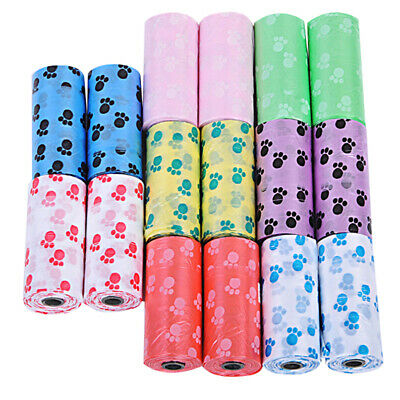 10X Rolls Pet Dog Puppy Cat Poo Poop Waste Disposable Clean Pick Up Bags V`UK