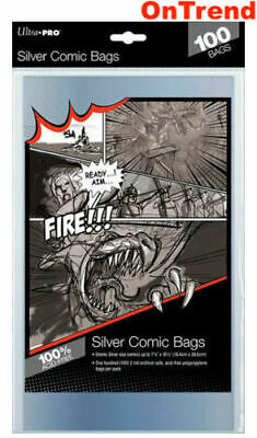 Ultra Pro Comic Series Silver Age Size Comic Bags Acid Free Clear 100 in Pack