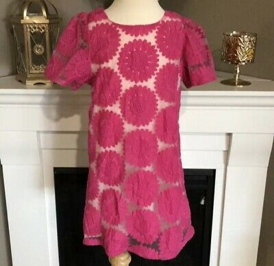 Zara Kids Hot Pink Floral Sheer Embroidered Tunic / Dress