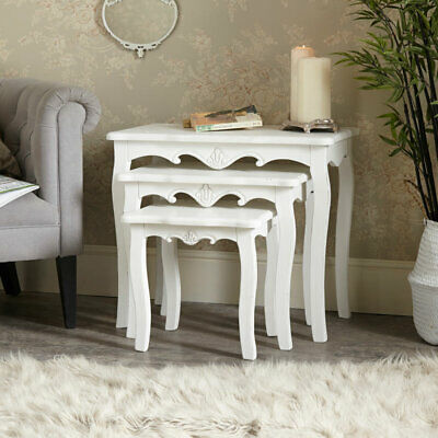 White set 3 nested side tables ornate vintage French chic living room furniture