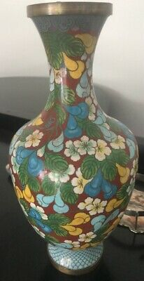 Chinese Cloisonne Blue Multi Flowers Vase Late 19Th– Early 20Th C Marked