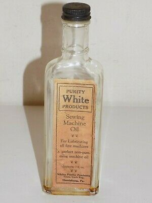Vintage Purity White Products Sewing Machine Oil Glass Bottle Harrisburg