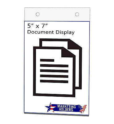 "Sign Holder Ad Frame 5""W x 7""H with Holes Vertical Wall Mount"