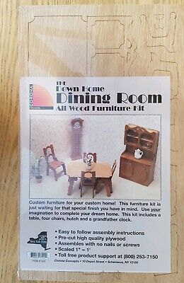 Doll House Furniture Kit Dining Room  All Wood Corona USA Victorian Style 7202