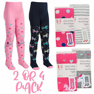 2 4 Pack Girls Tights Unicorn Fox Owl Striped Dotted Cute Cotton Soft 2-8 YRS