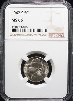 NGC 1942 S Silver MS 66 Jefferson Nickel 5C Coin