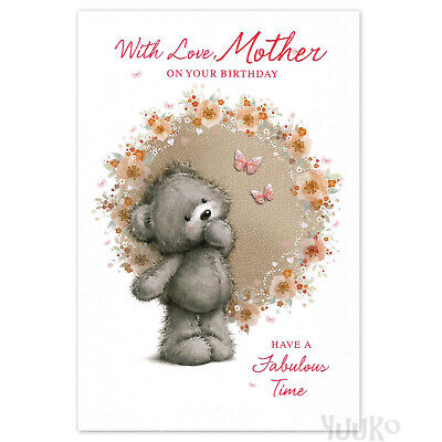 MOTHER Happy Birthday Card MUM Women Female ~ Teddy and Butterflies