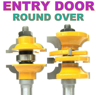 "3 pc 1/2"" SH Entry & Interior Door Round Over Matched R&S Router Bit Set"