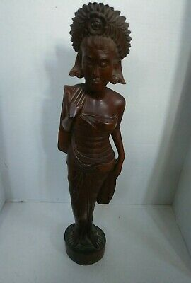 Vintage Large Hand Carved Dark Wood Oriental Statue/Figure 20""