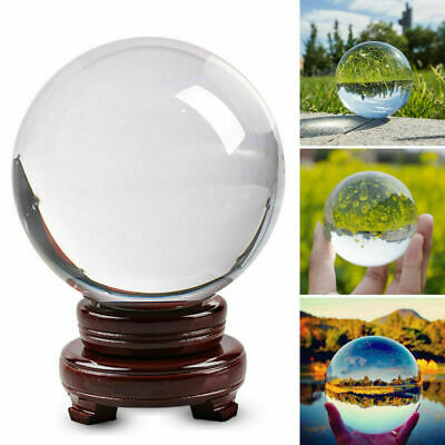60/100mm Clear Glass Crystal Ball Healing Sphere Photography Props Lensball Gift