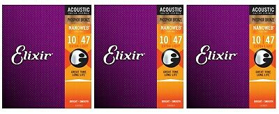 Elixir 16002 Nanoweb Phosphor Bronze Acoustic Guitar Strings Extra Light (3-Pack