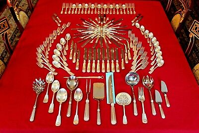 Rare Tiffany & Co. Sterling Silver Shell & Thread Flatware 124 Pc Silverware Set