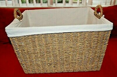 Large Tapered Seagrass Wicker Storage Basket With Fabric Liner