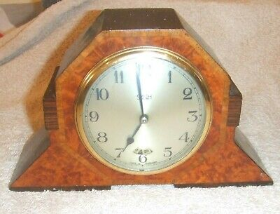 Smith Electric Mantel Clock - Deco Wood Case With Marquetry Veneer Front 2036 W.