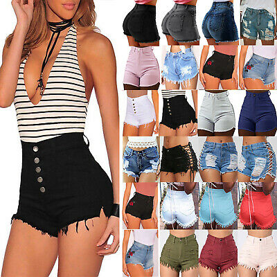 Women's High Waist Skinny Denim Jeans Shorts Stretch Mini Hot Pants Trousers UK