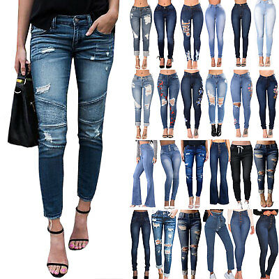 UK Womens High Waist Skinny Ripped Denim Pants Slim Fit Jeans Stretchy Trousers