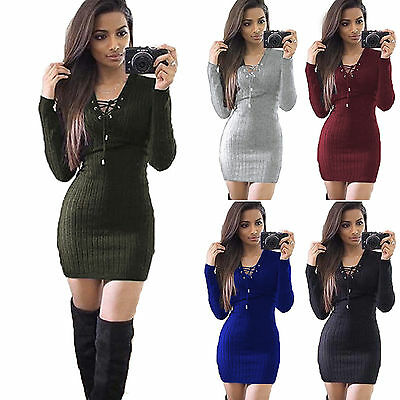 Womens Lace Up Cross Knitted Jumper Mini Dresses Ladies Winter Bodycon Sweater