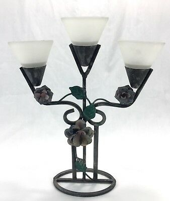 Shabby Chic Metal Candle Holder Floral Painted Wrought Iron Candelabra