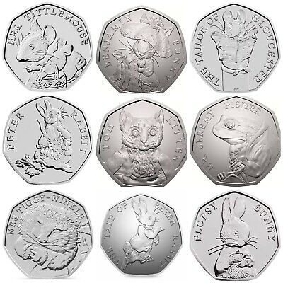 Beatrix Potter 2017,2018,2019 50p Coins Uncirculated