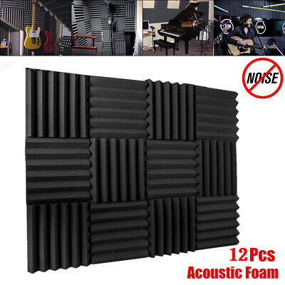 12Pcs Acoustic Foam Wedge Tiles Sound Studio Proofing Treatment Panel  ! !