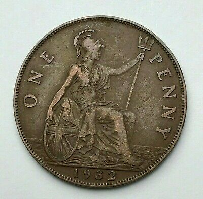 Dated : 1932 - One Penny - 1d Coin - King George V - Great Britain