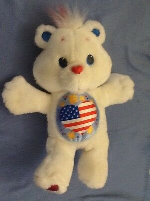 """1991 Kenner Care Bears Collection PROUD HEART BEAR 12"""" White Patriotic Plush EUC"""
