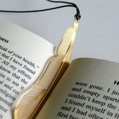 Feather Shaped Gold Plated Metal Bookmarks Book Markers Gift For Readers Wing